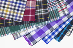 Fabric. Different color of many checkered plaid background Royalty Free Stock Photos