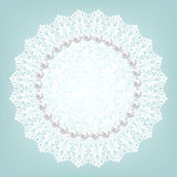 Fabric doily and pearls Stock Photo
