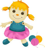 Fabric doll with yarns Royalty Free Stock Images