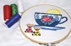 Fabric with embroidery in the hoop Royalty Free Stock Photography
