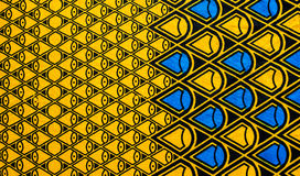Fabric. Ethnic blue and yellow ornamental fabric Stock Image