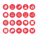 Fabric feature, clothes material vector flat glyph icons. Garment property symbols. Cotton wool, waterproof, wind vector illustration