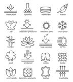 Fabric feature icons. Vector fabric feature icons. Cotton and wool, waterproof and UV-protection signs Royalty Free Stock Photos