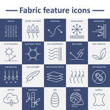 Fabric feature line icons. Pictograms with editable stroke. Fabric and clothes feature line icons. Linear wear labels. Elements - cotton, wool, waterproof, uv Stock Photos