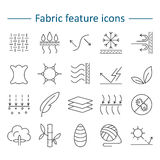 Fabric feature line icons. Pictograms with editable stroke for g. Fabric and clothes feature line icons. Linear wear labels. Elements - cotton, wool, waterproof Royalty Free Stock Images