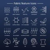 Fabric feature line icons. Pictograms with editable stroke for g. Fabric and clothes feature line icons. Linear wear labels. Elements - cotton, wool, waterproof Stock Photography