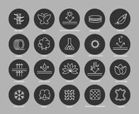 Fabric feature line icons set. In black circles. Vector illustration Stock Photos