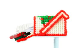 Fabric fiber woven mailbox with letter and  gift box of holiday Stock Images