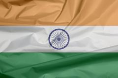 Fabric flag of India. Crease of Indian flag background. royalty free illustration
