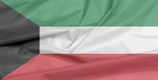 Fabric flag of Kuwait. Crease of Kuwaiti flag background. royalty free stock images