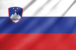 Fabric Flag of Slovenia stock photo