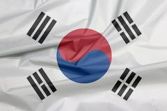 Fabric flag of South Korea. Crease of South Korean flag background. royalty free stock images