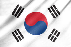 Fabric Flag of South Korea. Waving in the wind Fabric Flag of South Korea royalty free stock photos