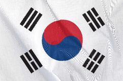Fabric Flag of South Korea. Waving in the wind Fabric Flag of South Korea royalty free stock photo