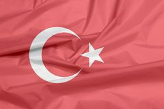 Fabric flag of Turkey. Crease of Turkish flag background. royalty free stock photography