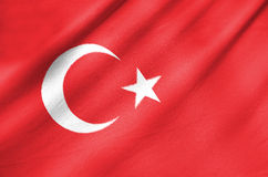 Fabric Flag of Turkey. Waving in the wind Fabric Flag of Turkey royalty free stock image