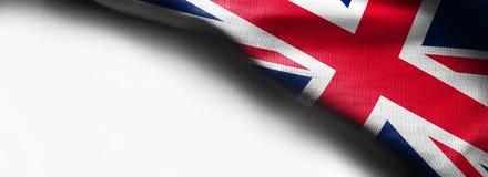 Fabric Flag of United Kingdom on white background - right top corner flag. Fabric Flag of United Kingdom on white background - right top corner royalty free stock photo