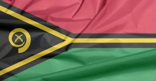 Fabric flag of Vanuatu. Crease of Vanuatu flag background. Fabric flag of Vanuatu. Crease of Vanuatu flag background, red and green with black and yellow color vector illustration