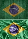 Brazil flag. Fabric flags brazil. Brazilian flag stock photos