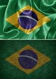 Brazil flag. Fabric flags brazil. satin brazil flag royalty free stock photography