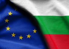 Flags of Bulgaria and the European Union. Fabric Flags of Bulgaria and the European Union Royalty Free Stock Photography