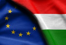 Flags of Hungary and european union. Fabric Flags of Hungary and european union Royalty Free Stock Image