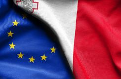 Flags of Malta and european union. Fabric Flags of Malta and european union Stock Photos