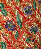 Fabric with floral batik pattern Royalty Free Stock Image