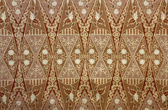 Fabric with floral batik pattern Royalty Free Stock Photos