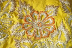 Fabric with floral embroidery Royalty Free Stock Images