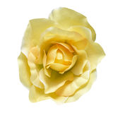Fabric flower. Artificial flower isolated on a white background. A soft light over fabric texture in yellow color Royalty Free Stock Photography