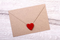 Fabric heart on envelope. Stock Images