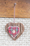 Fabric heart hanging Royalty Free Stock Photos
