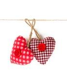 Fabric heart hanging Stock Image