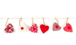 Fabric heart hanging Royalty Free Stock Photography