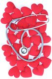 Fabric heart with stethoscope Stock Photos