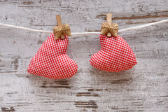 Fabric heart for Valentines day Royalty Free Stock Image