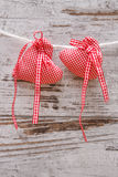 Fabric heart for Valentines day Stock Photo