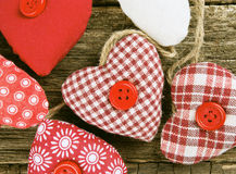 Fabric heart on wood Royalty Free Stock Photo