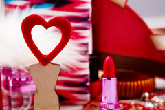 Fabric heart on wooden stand. Stock Photos