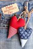 Fabric hearts on jeans pocket. Stock Images