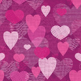 Fabric hearts romantic seamless pattern background Stock Image