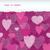 Fabric hearts romantic torn horizontal seamless Royalty Free Stock Photography