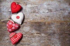Fabric hearts stock image