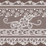 Fabric lace with flowers decoration. Fashion seamless background in baroque style royalty free illustration