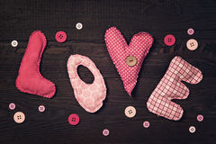 Fabric letters love Royalty Free Stock Photos