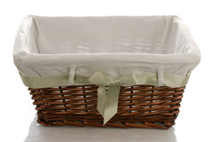 Fabric lined wicker basket Stock Photography