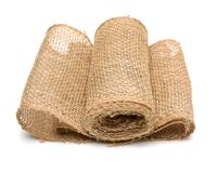Fabric of linen. On a white background Royalty Free Stock Photo