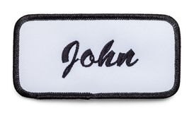 John Name Patch. Fabric Name Patch Isolated on a White Background Royalty Free Stock Image