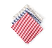 Fabric napkins for table setting. On white background stock images